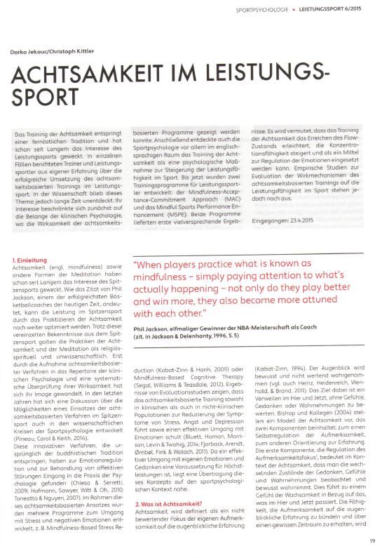 Achtsamkeit im Leistungssport